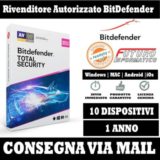 Bitdefender Total security 10 pc 1 anno