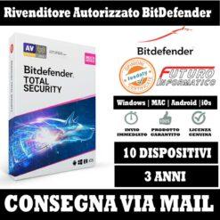 Bitdefender Total security 10 pc 3 Anni