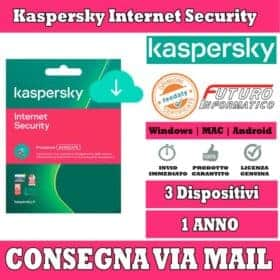 Kaspersky Internet Security per tre Dispositivi 1 Anno.